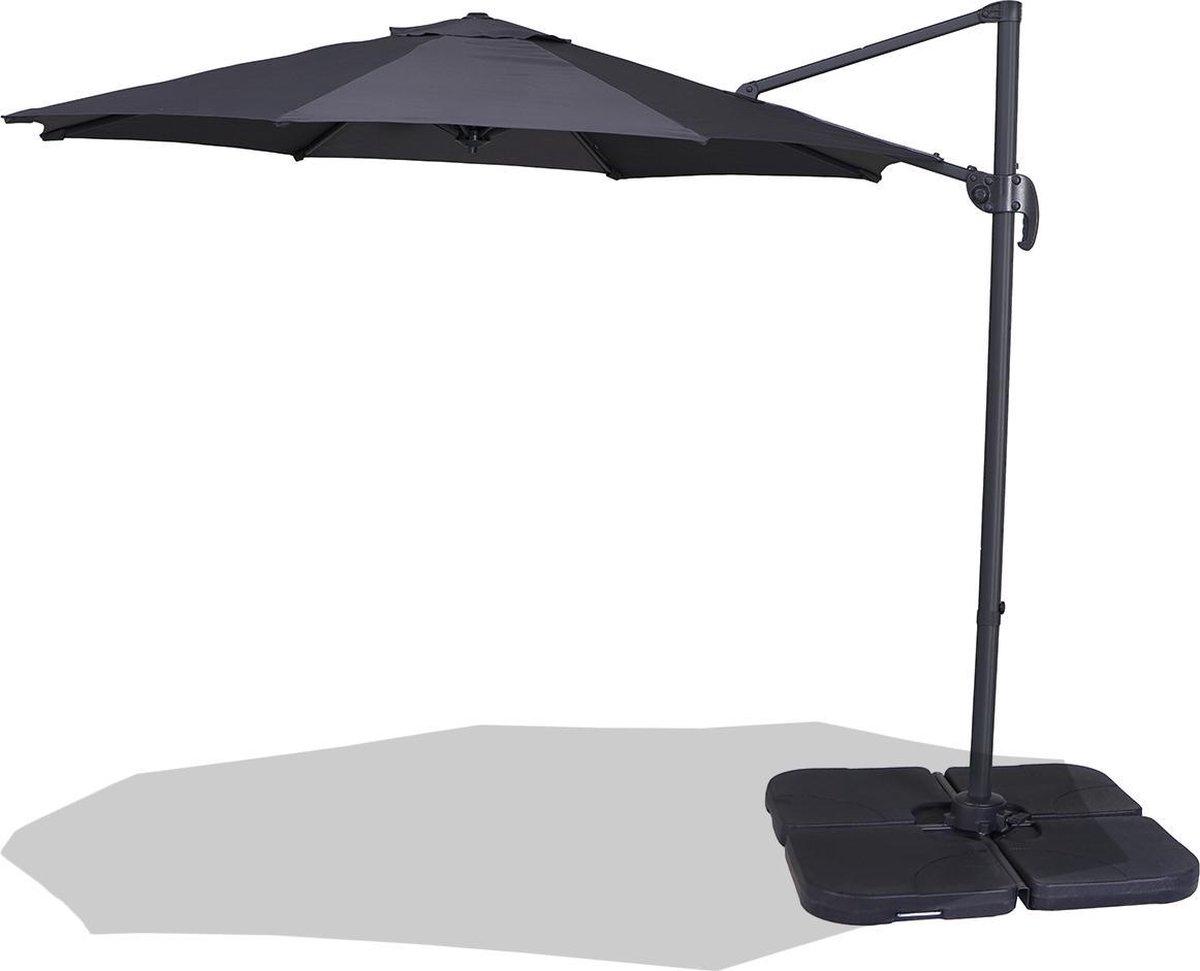 Homra LUX-XL Parasol - Duurzame zweefparasol - Ø300 cm - Donkergrijs - Inclusief beschermhoes - Incl