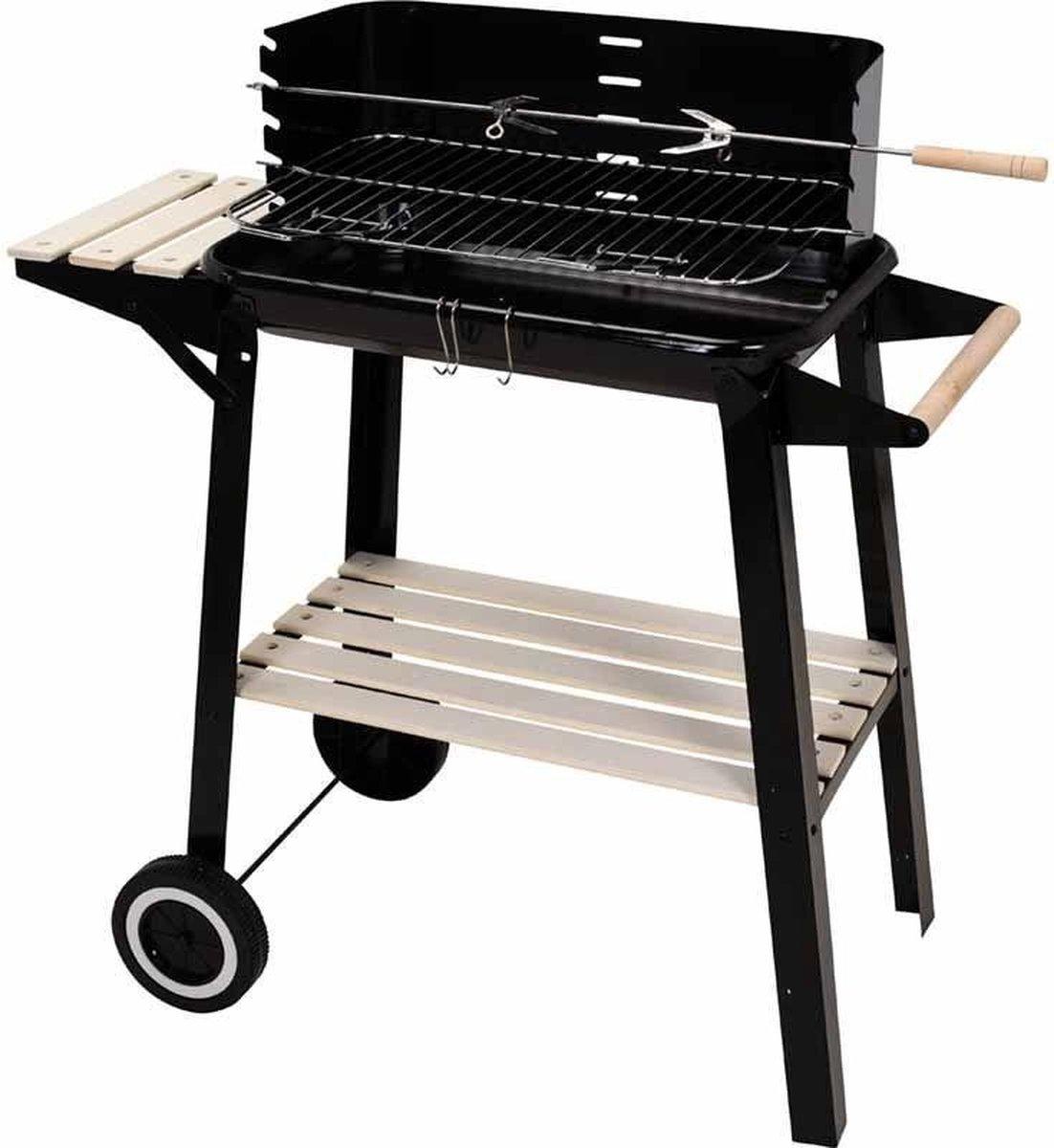 BBQ Verrijdbare Houtskool Barbecue - Grilloppervlak (LxB) 83 x 46 cm - Met Zijtafel - Zwart