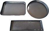 BAKVORMEN set van 3 geperforeerd met losse bodem - taartvorm - quichevorm - voor een knapperige bodem - anti-aanbaklaag