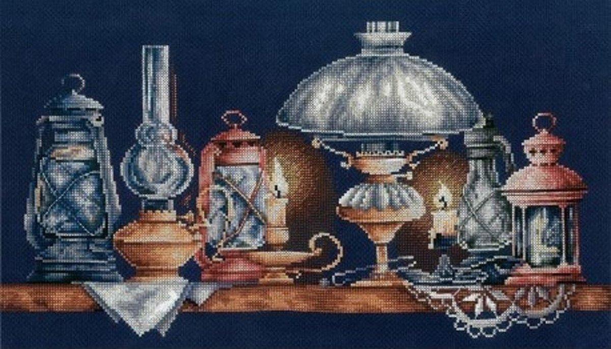 BORDUURPAKKET LAMPS - ADRIANA - telpatroon om te borduren - zwarte AIDA 14 count
