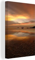Zonsondergang over Sairee-strand Ko Tao in Thailand Canvas 20x30 cm - klein - Foto print op Canvas schilderij (Wanddecoratie woonkamer / slaapkamer)