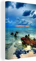 Foto vanaf de Grand Cayman met uitzicht op de zee Canvas 80x120 cm - Foto print op Canvas schilderij (Wanddecoratie woonkamer / slaapkamer)