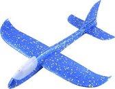 Zweefvliegtuig met verlichting blauw XL - EXTRA GROOT wegwerp vliegtuig foam - Speelgoed vliegtuig - vliegtuig kindweren - buitenspeelgoed - Vliegtuig van verhard foam