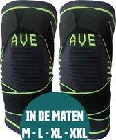 AVE® Set van 2 stuks Elastische Kniebrace – Maat XL - Kniebandage - Knie Bescherming - Compressie - Zwart / Groen