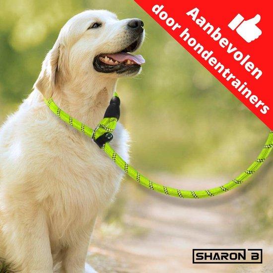 Retriever lijn - geel - 140 cm – diervriendelijke hondenriem - slip ketting – soft grip - met lederen stop – hondentraining – reflecterend