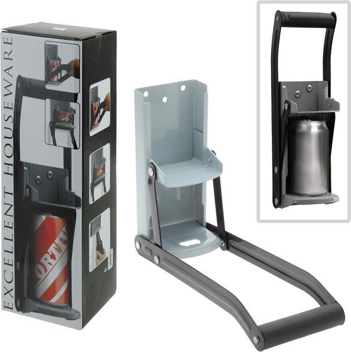 MikaMax Blikjespers - Keukenhulphouder - Blikkenpers - Can Crusher - Grijs - 32 x 10 x 10 cm