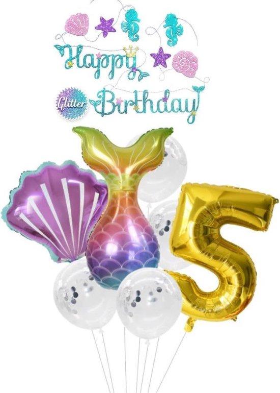 Zeemeermin ballon - 5 jaar - Kinderfeestje - Vijf jaar - Verjaardagfeest - ballonnen pakket - Kinderfeestje pakket - Zeemeermin ballonnen pakket