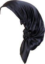 YOSMO - Zijden Slaap haardoek - kleur zwart - maat groot - lang haar - Slaapmuts - Bonnet - 100% Zijden - Moerbei
