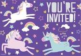 Unique Uitnodigingen Unicorn Multicolor 10,5 X 14,8 Cm 8 Stuks