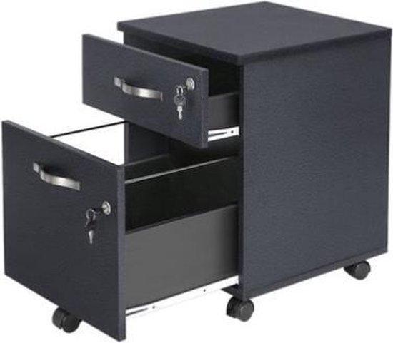Segenn's ladeblok - ladeblok op wieltjes  - Afsluitbaar - Archiefkast met 2 lades, 5 wielen en verstelbare hangmap - voor documenten in A4 en briefformaat - kantoor aan huis - Zwart