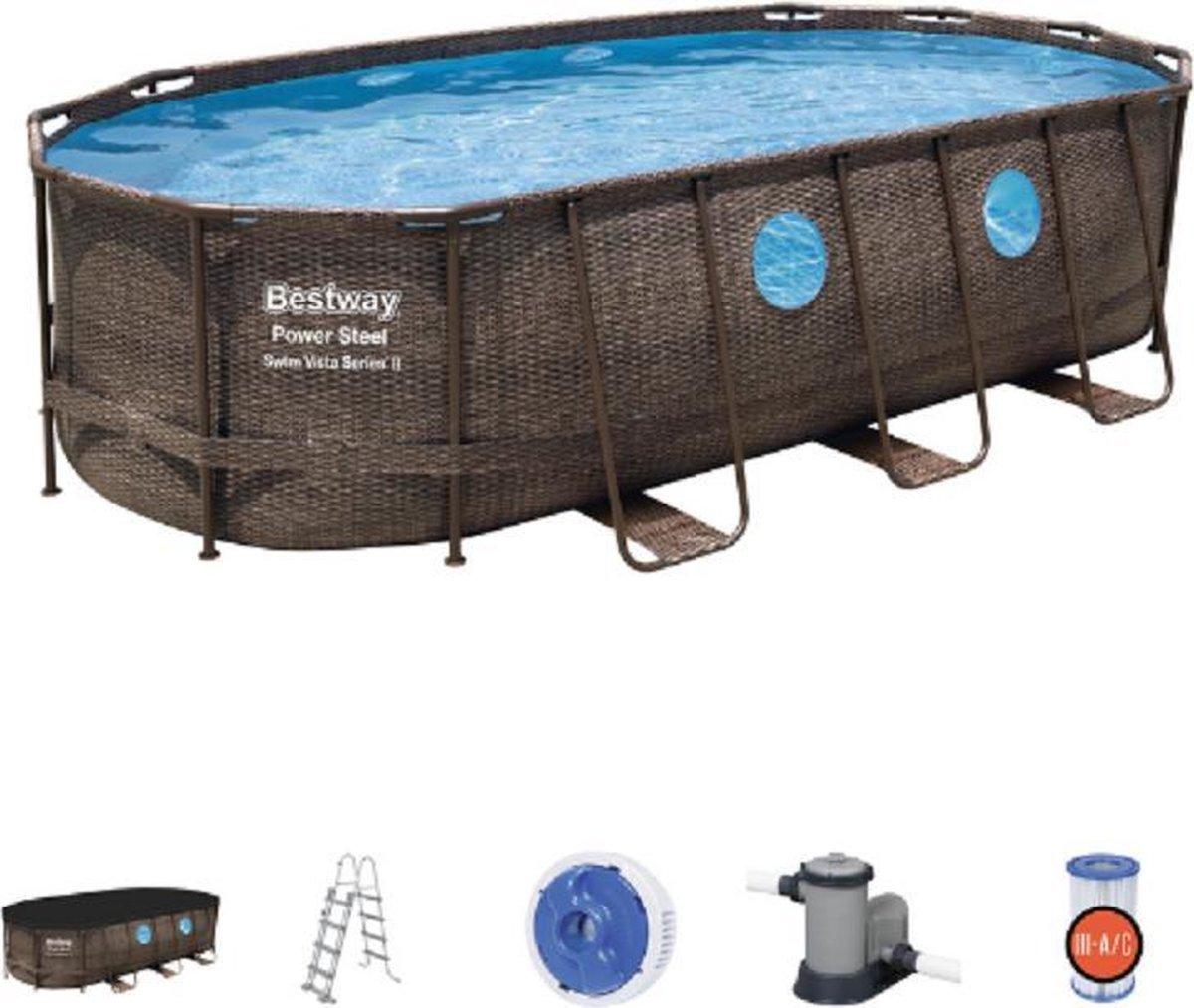 Bestway Oval Pool Zwembad 549 x 274 x 122m - incl filterpomp Rattan