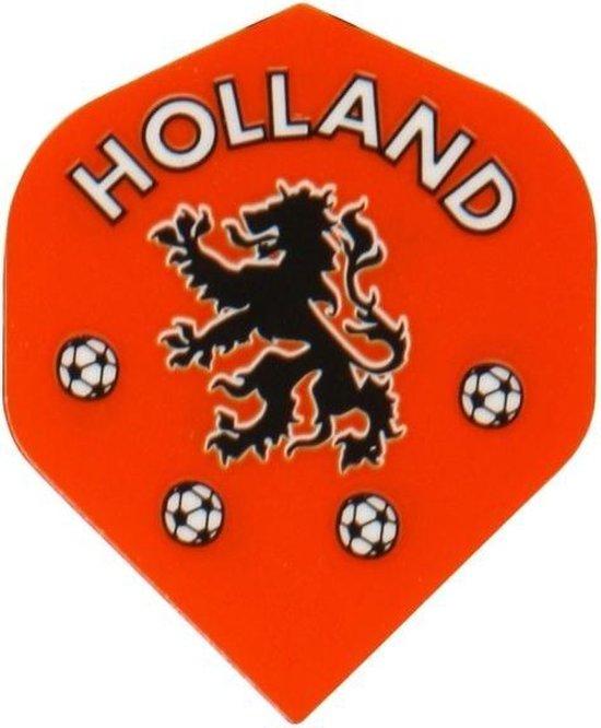 Thumbnail van een extra afbeelding van het spel 10 sets Dartflights Fluoranje Holland voetbal Leeuw