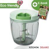 Kitchen Deluxe® Hakmolen - Groentesnijder - 5 second chopper - Inclusief Kookboek - 900 ML - Handmatig