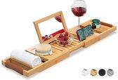 Badrekje van RelaxTub® - Bamboe Badplank voor in Bad - Uitschuifbaar - Inclusief Boekenhouder - Tablethouder - Spiegel - Anti-slip laag
