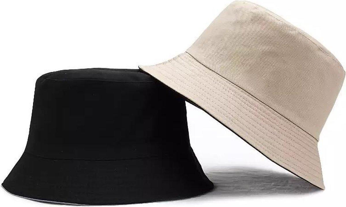 Bucket hat - Beige - Zwart - 2 in 1 - Omkeerbaar - UV - Regenhoed - Zonnehoed S/M