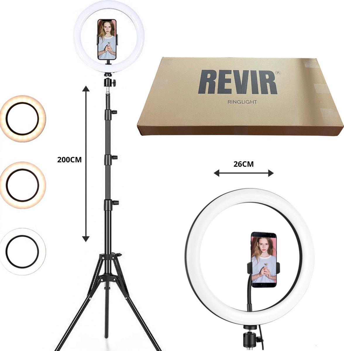REVIR  LED Ringlamp met Statief 200 CM - Led Ringlamp USB - 10 inch/26 CM- 3 Lichtstanden - Tiktok /