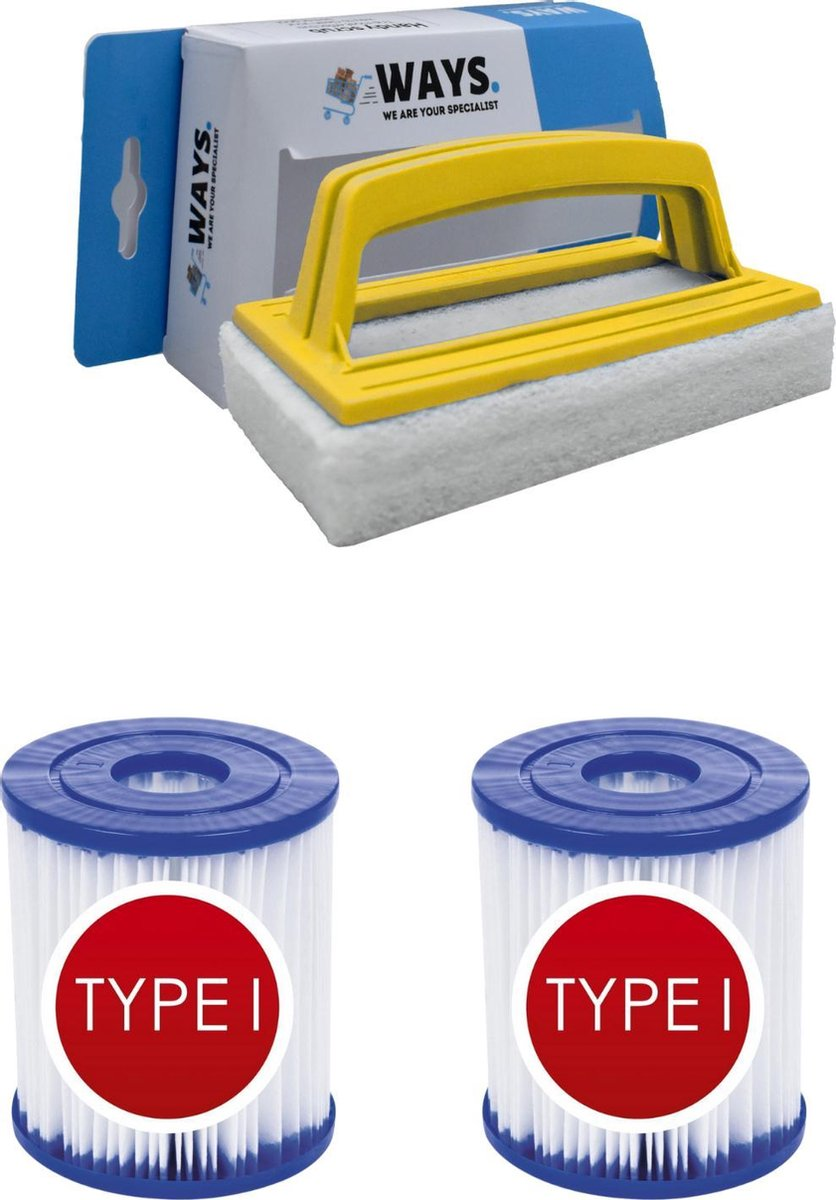 Bestway - Type I filters geschikt voor filterpomp 58381 - 2 stuks & WAYS scrubborstel