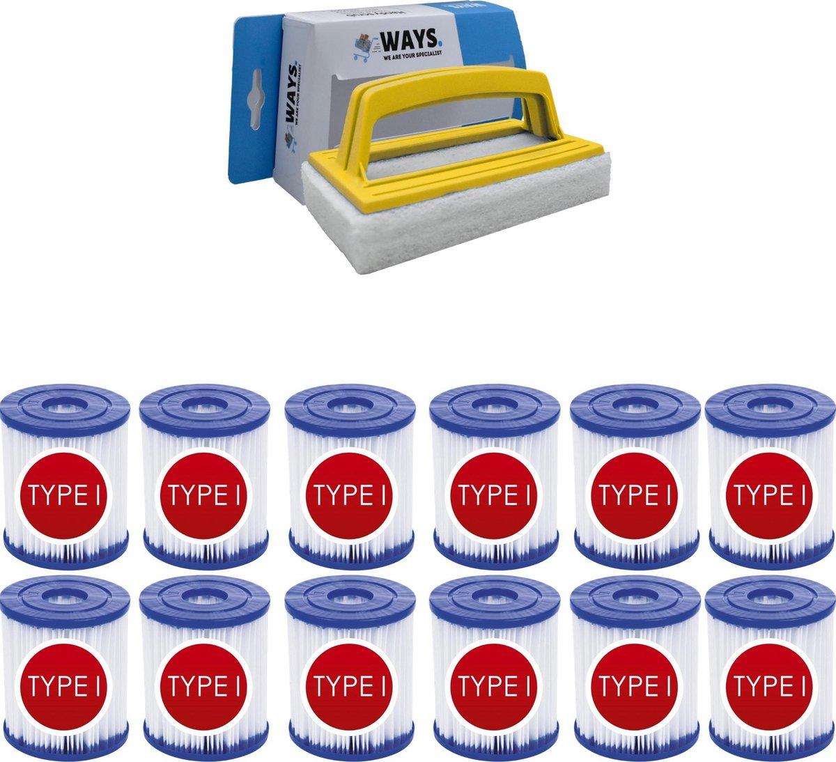 Bestway - Type I filters geschikt voor filterpomp 58381 - 12 stuks & WAYS scrubborstel
