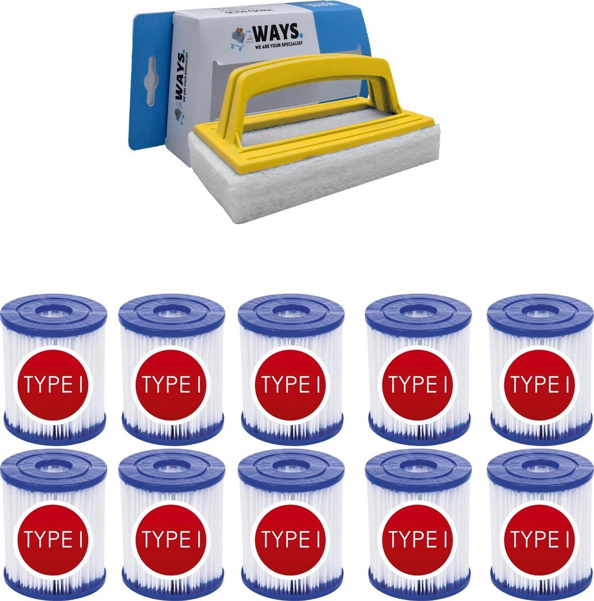Bestway - Type I filters geschikt voor filterpomp 58381 - 10 stuks & WAYS scrubborstel