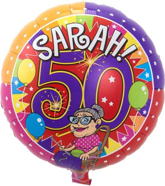 Folie cadeau sturen helium gevulde ballon 50 jaar geworden Sarah 43 cm - Folieballon verjaardag versturen/verzenden - Verjaardagscadeau