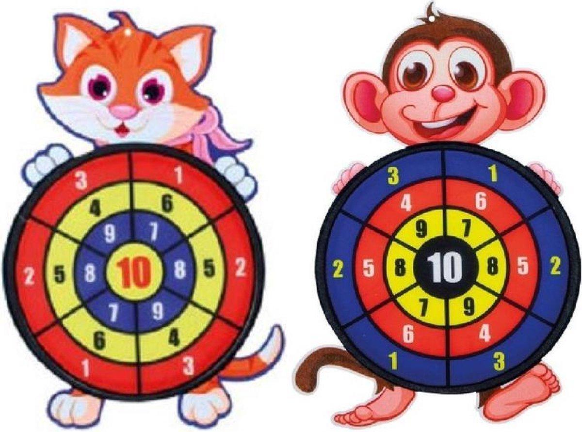 2 stuks kinder dartbord met ballen Kat en Aap