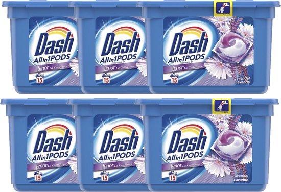 Dash - Allin1 Wasmiddel Pods - Lavendel - 6 x 15 (90) Stuks - Met Lenor Frisheid - Voordeelverpakking - Wascapsules