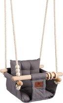 Baby / Kinder Schommel voor binnen of buiten! - Baby Swing Donker Grijs - Schommelstoel inclusief Zachte Kussens en Bevestigingsmaterialen - Met Veiligheidsgordel!