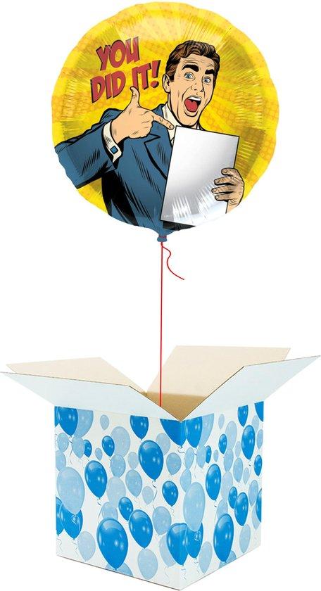 Helium Ballon gevuld met helium - You Did it! - Cadeauverpakking - Gefeliciteerd - Geslaagd - Folieballon - Helium ballonnen gevuld