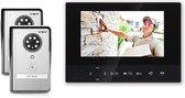 Doorsafe 4502 - Draadloze camera video deurbel - 2 x 7 inch scherm - 2 x deurbel, werkt op 12V of batterijen