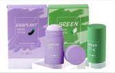 Green mask stick duo- Green Mask Stick + Eggplant Mask Sepeciale combi! Stick-Huidverzorging - Gezichtsmasker - Kleimasker - Mee Eters & Acne verwijderen - Acne verzorging - Mee-eter verwijderaar - Poriën reiniger -Blackhead - Verzachtend -