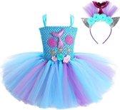 Zeemeermin jurk tutu Prinsessen jurk blauw + haarband - Maat 116/122 (120) verkleedjurk verkleedkleding