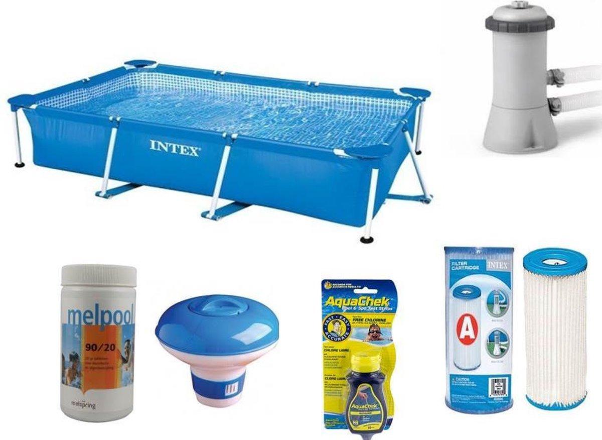 Intex Rechthoekig Zwembad - 300 x 200 x 75 cm - Compleet pakket - Met Afdekzeil en Filterpomp/chloor/chloordrijver/testset/reparatieset