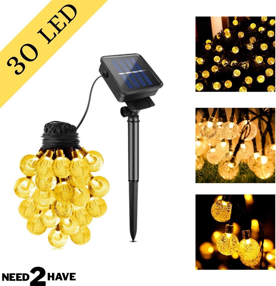 Need2Have Lichtsnoer Buiten - 30 LED - Solar Tuinverlichting - Tuinverlichting op Zonneenergie - 5 M