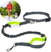 ATV PERFECTUM Elastische en diervriendelijke looplijn met heupriem - Hondenriem - 130cm/185cm - Zwart - halsband hond -