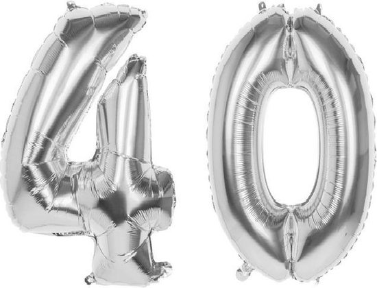 40 Jaar Folie Ballonnen Zilver - Happy Birthday - Foil Balloon - Versiering - Verjaardag - Mannen - Vrouwen - Feest - Inclusief Opblaas Stokje & Clip - XL - 82 cm