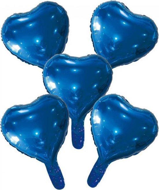 Wefiesta Folieballonnen Hartvorm 22 Cm Donkerblauw 5 Stuks