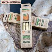 Bambooze rietjes - Kwalitatieve bamboe rietjes -  Herbruikbare rietjes - 6x 15cm + 6x 22cm