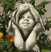 Betonnen tuinbeeld op metalen stok - Bloemenkind Zonnehoed