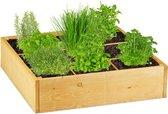 relaxdays moestuinbak hout - kruidenbak - plantenbak - vierkant - 9 zones - buiten