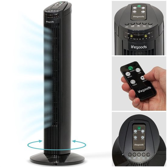 LifeGoods Torenventilator - 50W - 74 cm - Staande Oscillerende Kolomventilator - Timer - Afstandsbediening - Stil 48dB - Zwart