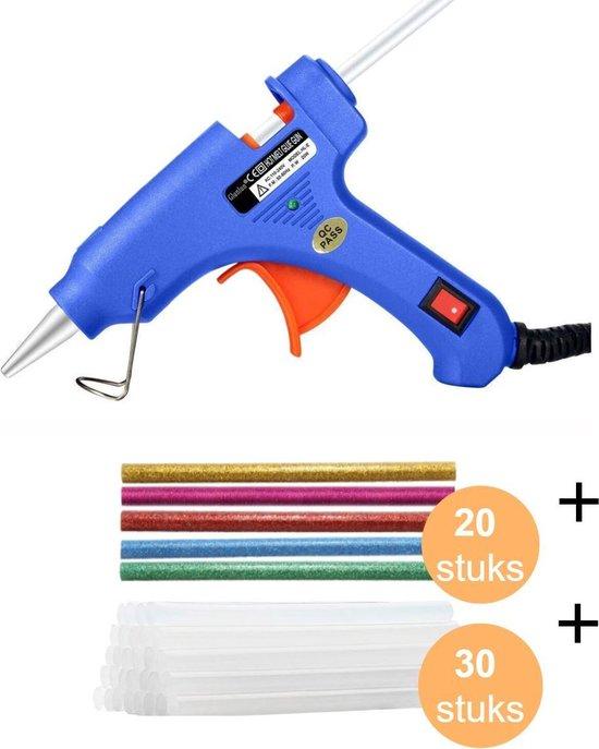 Afbeelding van CoolGoods Professioneel Lijmpistool met 30x Lijmsticks en 20x gekleurde Lijmsticks - Glue Gun - Hobby/Knutselen/Klussen - 20W - Inclusief Lijmpatroon 7.2 mm Ø x 100 mm - Blauw