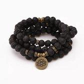 108 Kralen Lotus Mala Armband / Ketting zwart -  Vrouwen / Mannen - 8mm Lava Rock - Boeddha - Yoga -