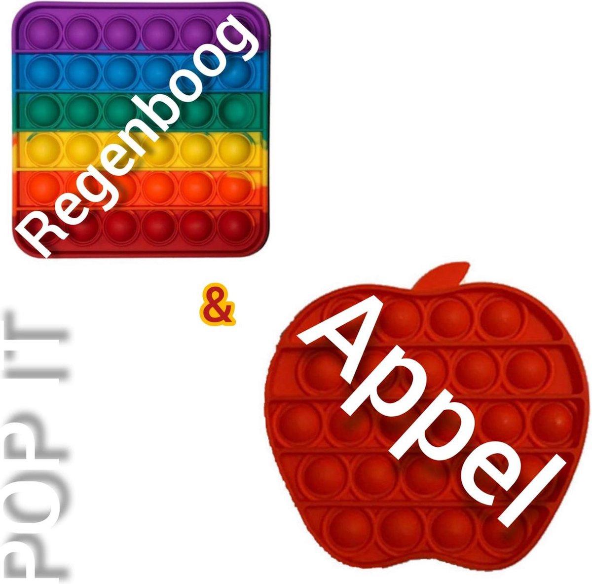 Pop it | Fidget toys pakket | Regenboog vierkant + Appel rood | Meisjes jongens volwassenen | Anti stress 2021 | Cadeautip _ Leuk voor zwembad
