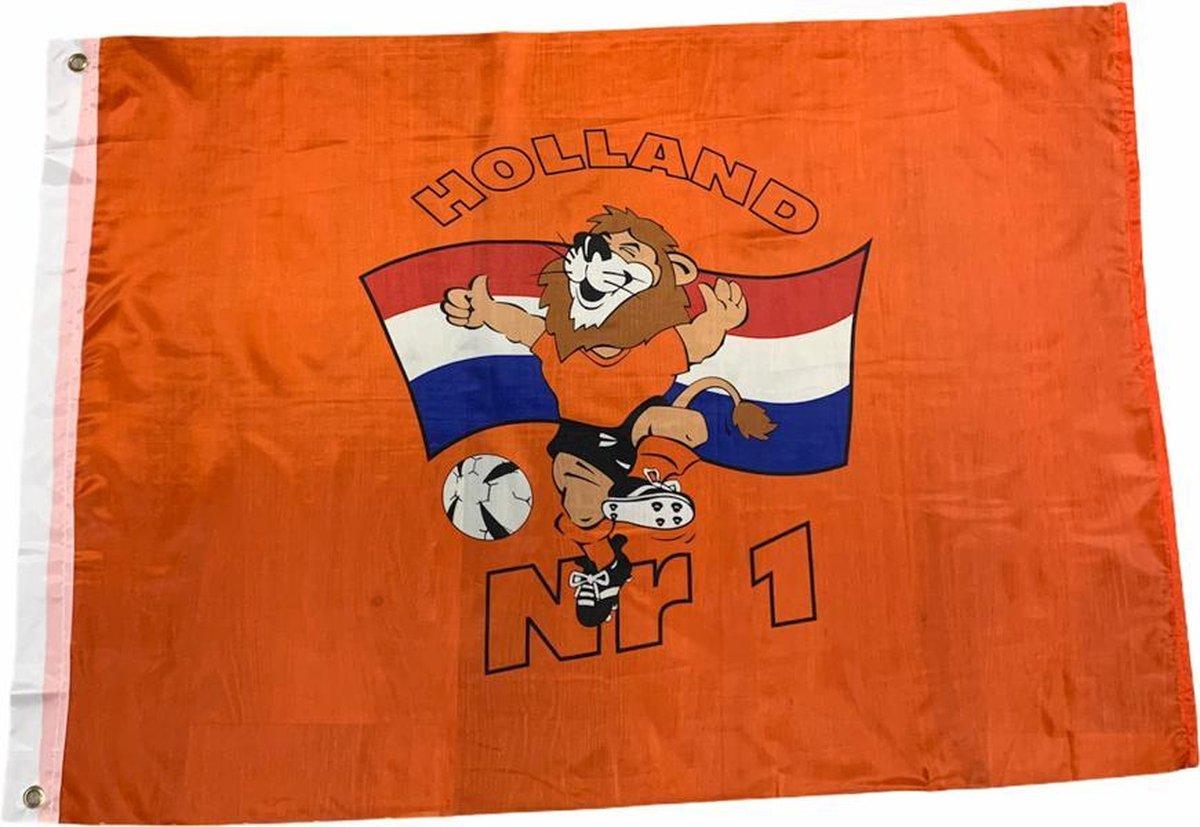 EK 2021 Voetbal Vlag Oranje Leeuw met Rood   Wit   Blauw  Holland  75 x 100 cm