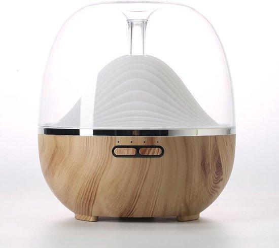 Diffuser - Luchtbevochtiger & Aromatherapie met Led verlichting en afstandsbediening van 600ML - Geurverspreider - Verdamper, Vernevelaar | Hout Design