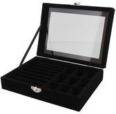 Dielay - Luxe Sieradendoos met Venster - Kist voor Sieraden - Juwelen Box - 20x15x5 cm - Zwart