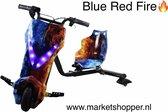 Elektrische drift trike karts met vering en LED verlichting - drie racestanden – BLUE RED FIRE