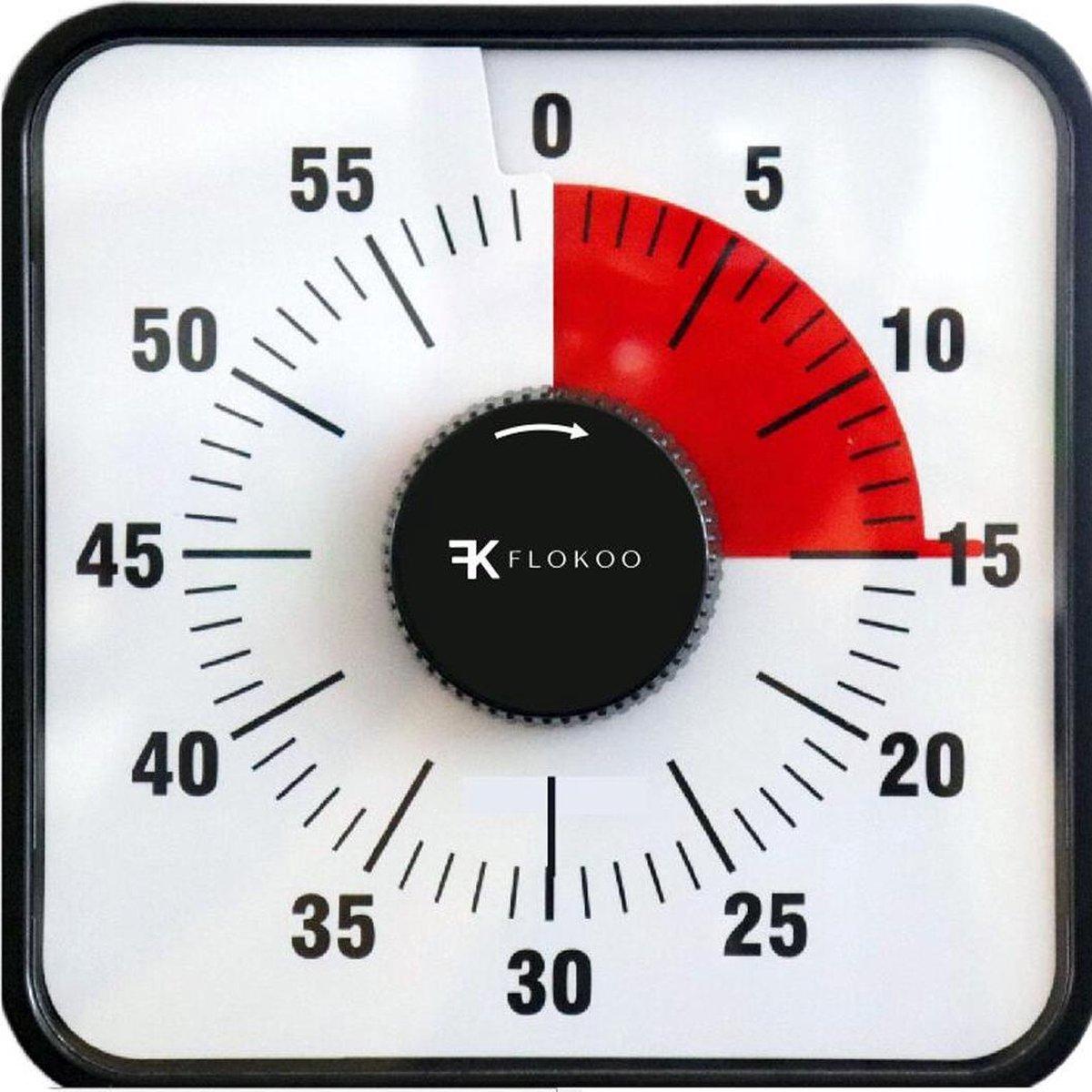 Leerklok Zwart 19x19 cm - Hoogwaardige Leerklok voor Kinderen - Timer Kind Zwart - Aftelklok - Leerk