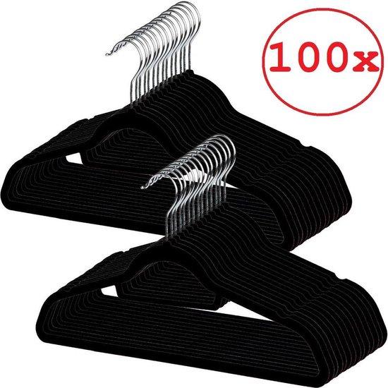 Fluwelen Kledinghangers zwart 100 st met Fluweel Antislip en Inkepingen - Kleerhangers met Stropdas en Broeklat - Metalen Haak - Velvet