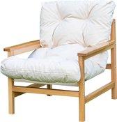 NEMSA Alp - Loungestoel - Lounge stoel met kussens - 1 persoon - Massief hout - Crème